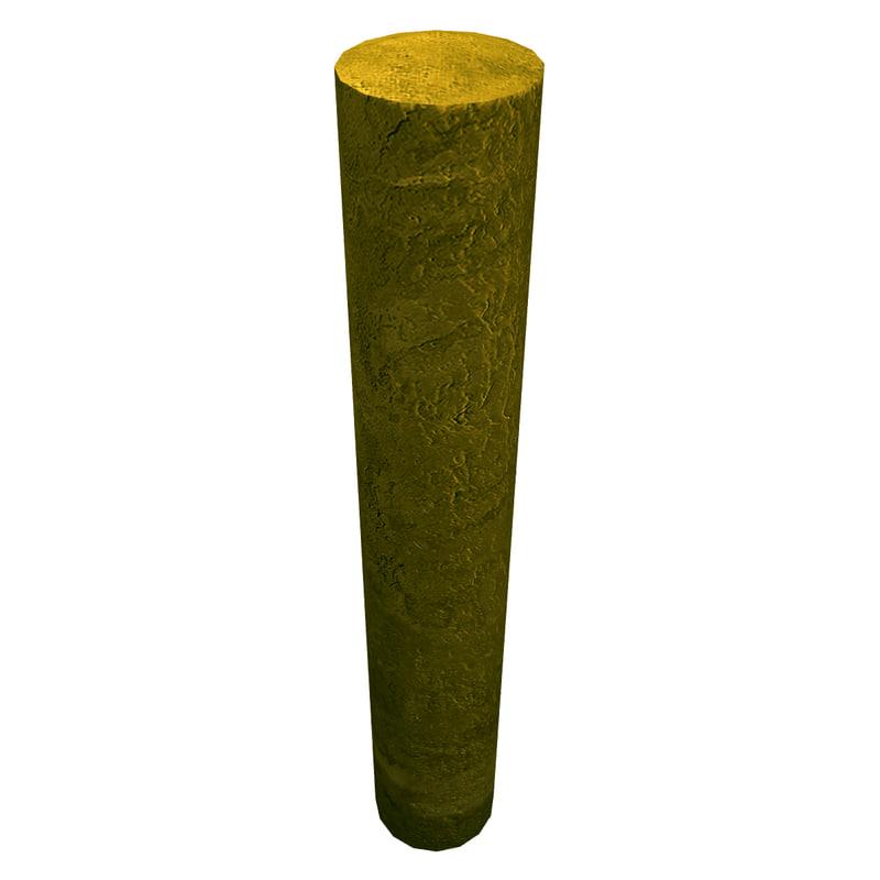 resolution bollard concrete pillar 3d obj