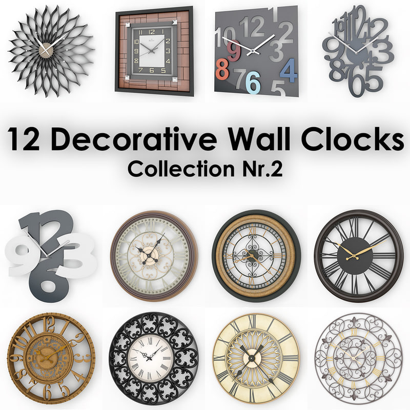 12 decorative wall clocks 3d model