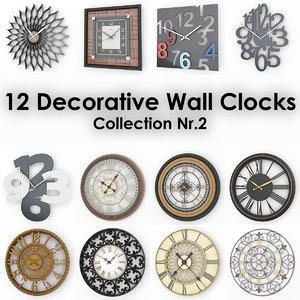 12 decorative wall clocks 3d model