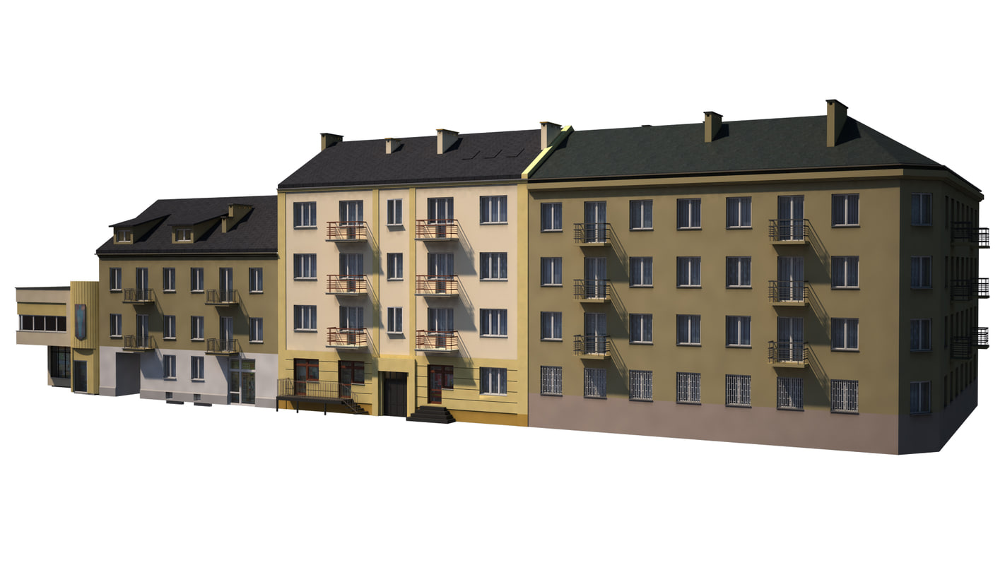 pack tenement houses 3d obj