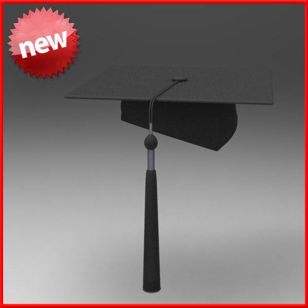 3d model graduation hat