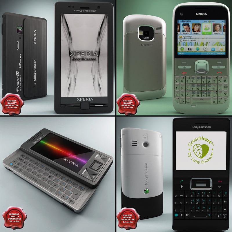 3d model cellphones set aspen