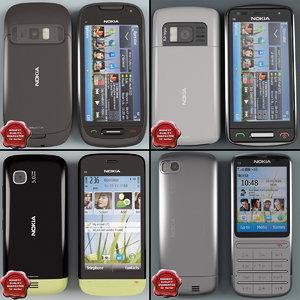 3d cellphones set modelled model