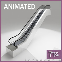 escalator modern indoors 3d model