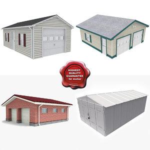 garages set modelled 3d max