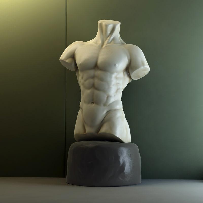 male torso statue 3d max