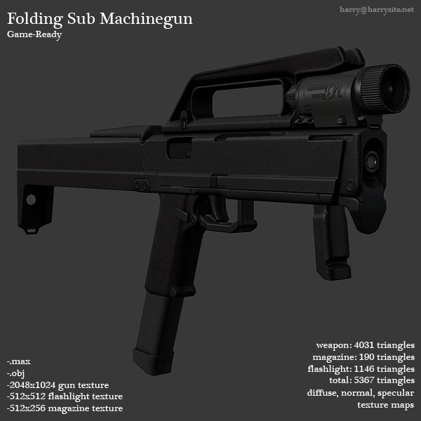 sub machinegun fold gun 3d model