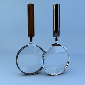 3d model of 2 magnifying glasses