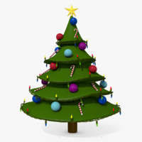 3d cartoon style christmas tree model