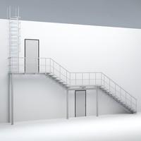 3dsmax stairs evacuation