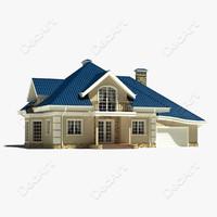 3d model suburban cottage modelled