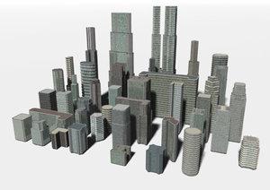 3d city buildings skyscrapers model