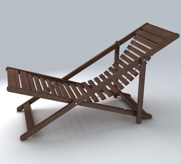 3d model deckchair exterior