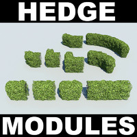 photoreal modules hedges 3d model