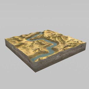 terrain river landscape 3d max