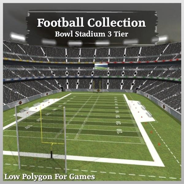 3d model football bowl stadium 3