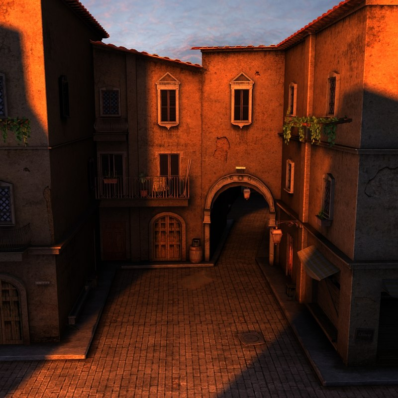 italian alley 3d max