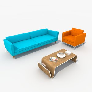 retro sofa set chair 3d model