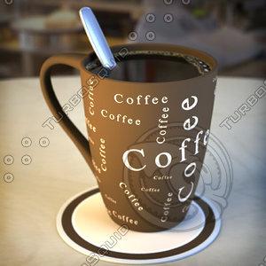 3d model cup coffee mugs spoons