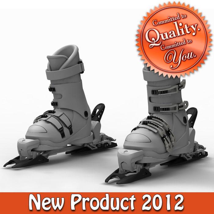 3d hill ski boots binder model