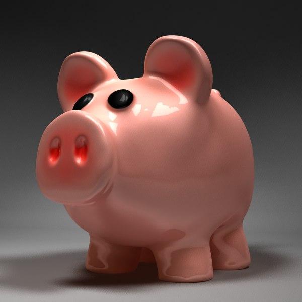 3d pig cartoony model