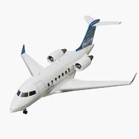 3d model bombardier challenger midsize jet