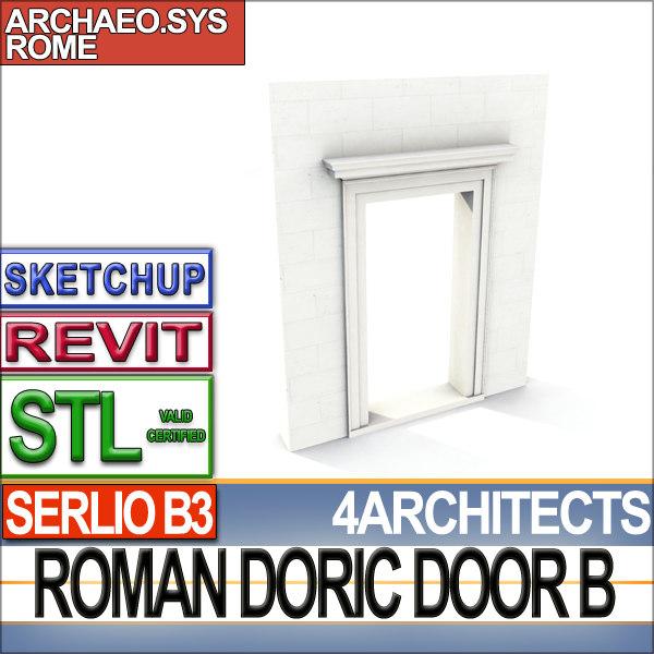 3d model roman doric door stl