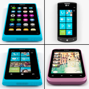 3d obj cellphones set htc