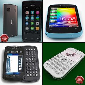 cellphones set htc 3d model