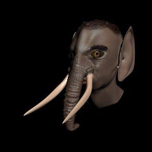 3d model head elephant male