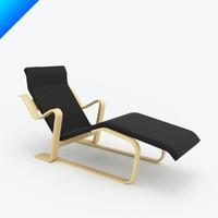 marcel breuer chaise lounge 3d 3ds