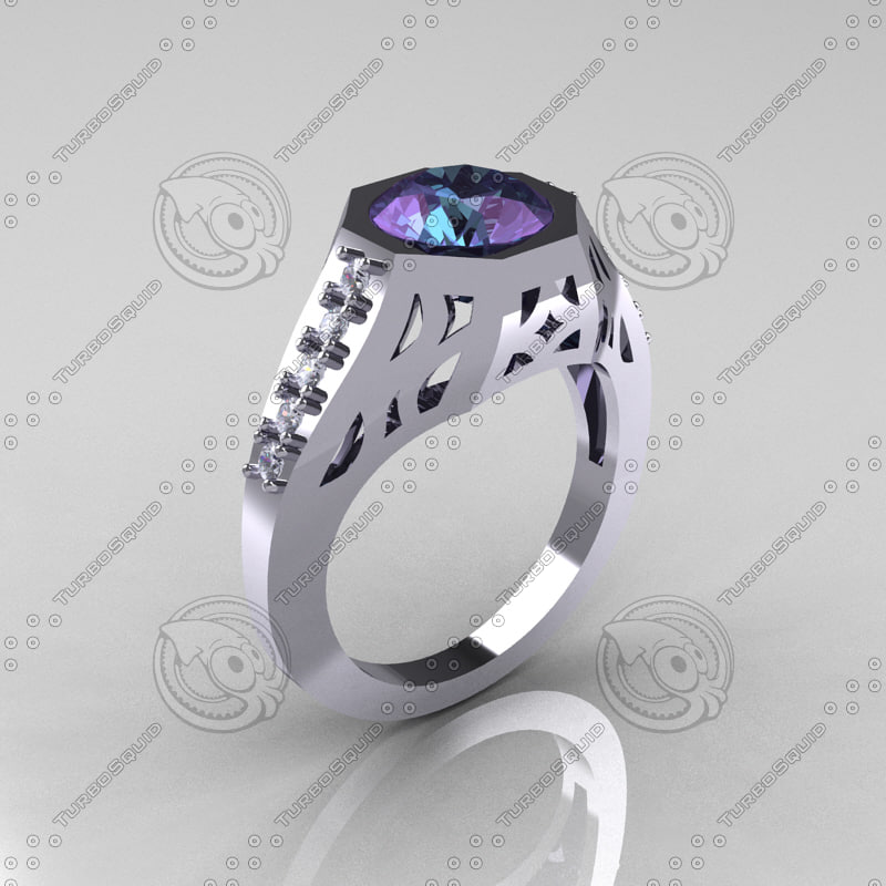 modern edwardian bridal ring 3dm
