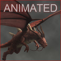 red dragon animation flying 3d model