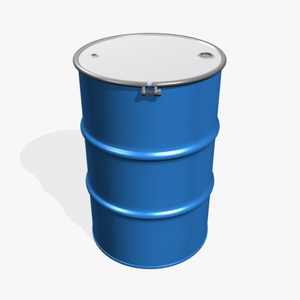 3d model open 55 gallon drum
