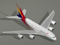 3d model of airbus a380-800 asiana airlines