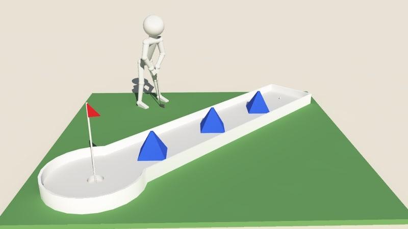 mini golf golfer 3d obj