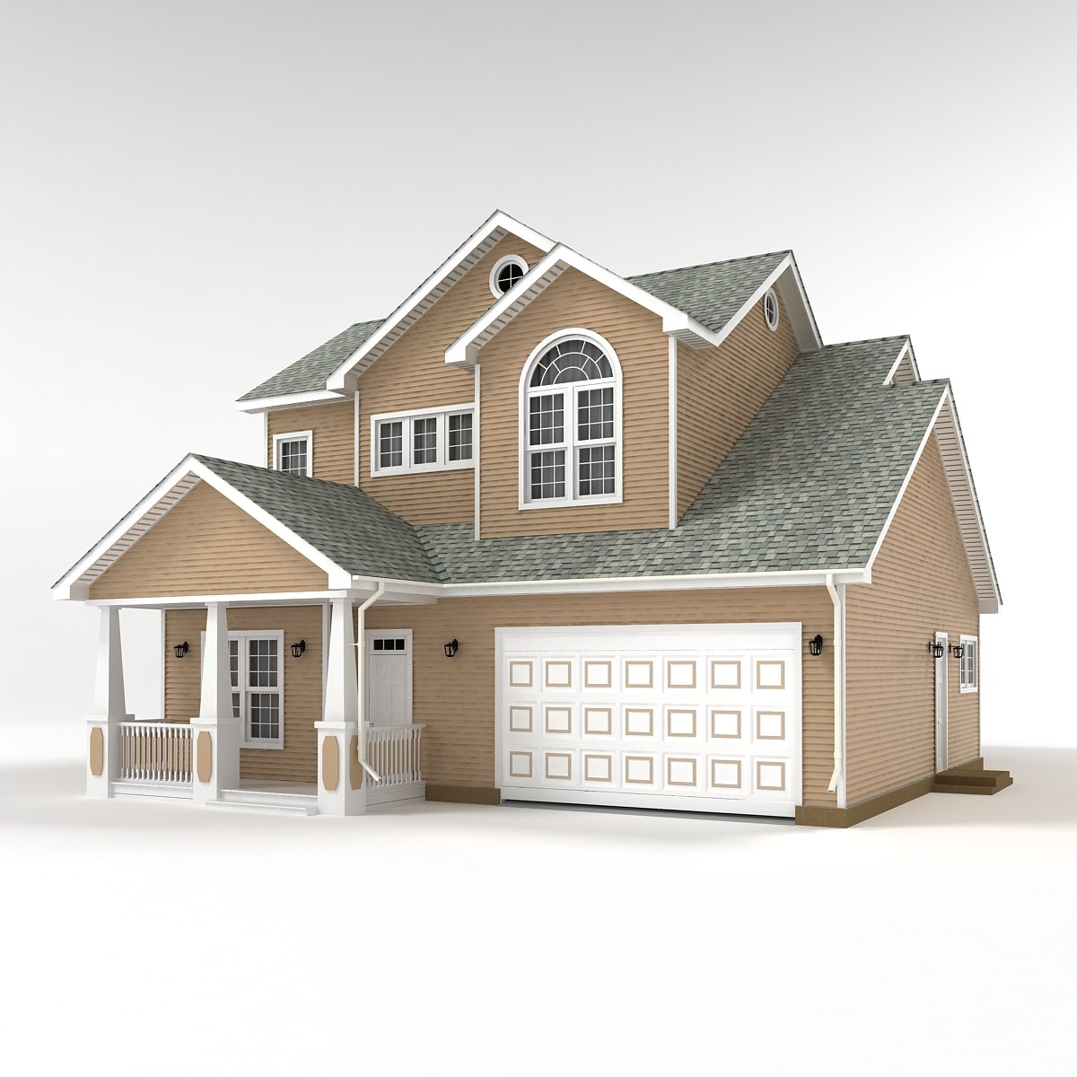 3d Two Story Cottage Model