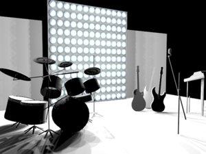 3d model set drum ovation guitars
