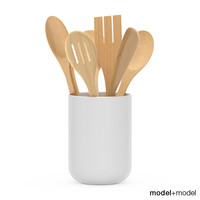 kitchen tools wooden cup 3d model