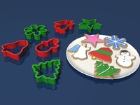 3D Model Christmas cookies and cookie cutters