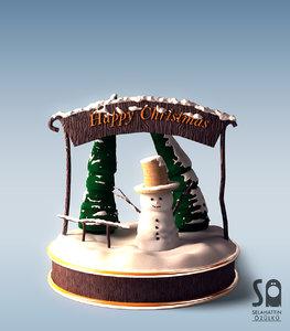 max pine trees snow man