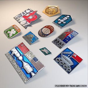 russian space propaganda pins 3d blend