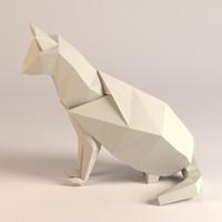 paper cat 3d obj