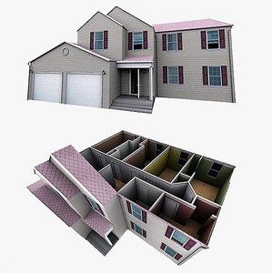 3d model realistic cottage interior garage