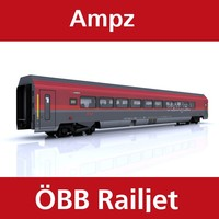 3d passenger railway train railjet