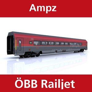 3d passenger railway train railjet