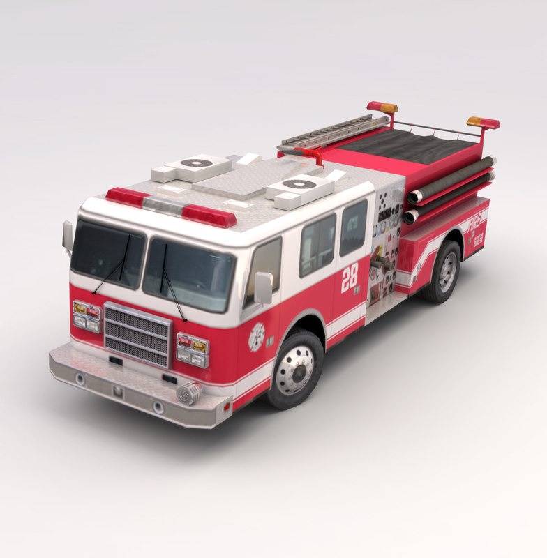 3ds max low-poly american firetruck