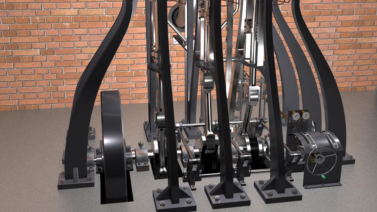 3dsmax piston steam engine -