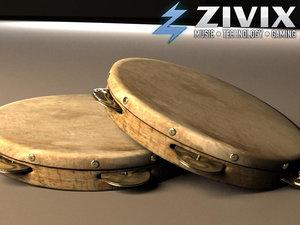tambourine percussion drum 3d max