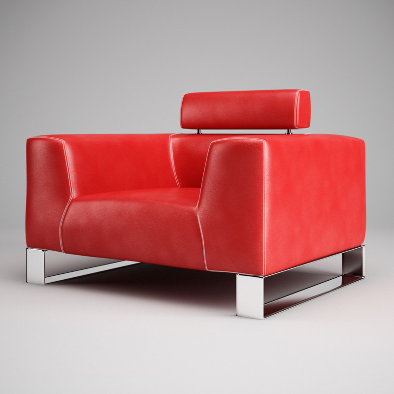 cgaxis red leather armchair 3d max